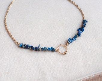 Lapis Lazuli Choker Crystal Choker Necklace Blue Beaded Necklace Gemstone Bead, Lapis Lazuli Beads, Yoga Jewelry, Healing Crystal necklace