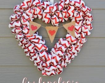 Red Metallic Chevron Burlap Heart Wreath *with painted burlap heart banner,* Valentine's Day Wreath, Red & White Burlap Wreath