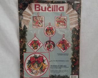 CHRISTMAS CROSS STITCH Bucilla #82946 Tree Ornaments 1991 set of 6 Collectible Mid Century Vintage Retro