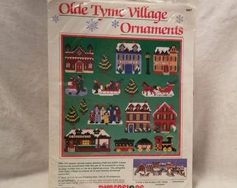 CHRISTMAS CROSS STITCH Dimensions #9067 Olde Tyme Village Tree Ornaments 1989 set of 18 Stand-up Scene Holiday Plasticpoint Vintage Retro