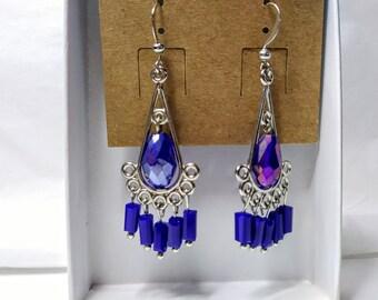 Blue Drop Chandelier Earrings