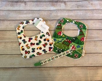 Farm Baby Gift Set - Tractors, Down on the Farm, Baby Bibs, Pacifier Clip