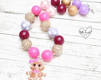Gingerbread Girl, Ginderbread Necklace, Christmas Necklace, Christmas, Christmas Bubblegum Necklace, Chunky Necklace, Bubblegum Necklace