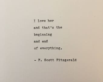 F. Scott Fitzgerald love quote hand typed on antique typewriter gift girlfriend boyfriend husband wife wedding present birthday christmas