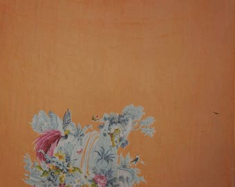 "Decorative Fabric, Floral Print Fabric, Sewing Crafts, Orange Fabric, Chiffon Saree, 42"" Inch Chiffon Fabric By The Yard ZBCH167A"