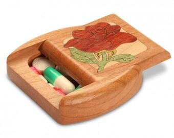 """Wood Pill Box   Red Rose   Cherry Wood   2""""L x 2""""W x 1/2""""D"""