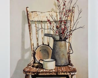 "24x20 ""Watering Can on Chair"" Art Print by Cecile Baird, Folk Art, Country Art, Primitive, Antique Chair Dried Flowers, Unframed Art Prints"
