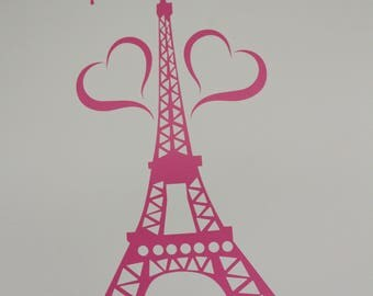 Eiffel Tower Wall Decal//Eiffel Tower Wall Decal with Name//Girls Bedroom Wall Decal Sticker//Removable Vinyl Wall Decal