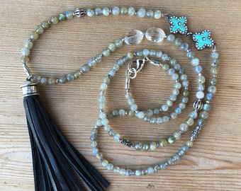Labradorite Leather Tassel Long Necklace