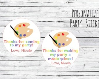 Personalized Art Painting Party Favor Tags Masterpiece Artist Art Party Favor Birthday Party Favors Goodie Bag Thank You Tags Stickers Label