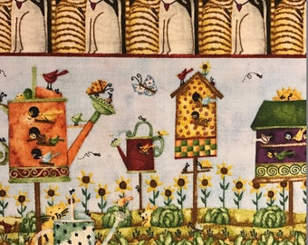 Birdhouses, Birds, Cats and Water Cans, Home Sweet Home by SPX Prints, 100% Cotton