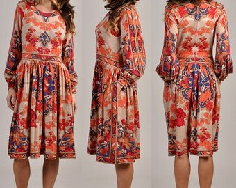 vintage 1960's  LEONARD PARIS floral print dress   stunning    H8