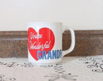 You're Wonderful, Grandpa Coffee Mug From the 1980s 80s 1990s Valentine's Day Gift Sweet Father's Day Fun Quirky Rainbow