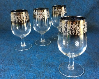 Vintage Silver Rimmed Ombre Wine Glasses, Set of 4, Mid Century Barware