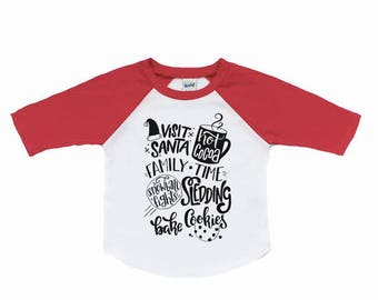 Winter activity bucket list shirt, visit santa shirt, holiday shirt, christmas shirt, baby boy, unisex christmas, baby girl, toddler shirt