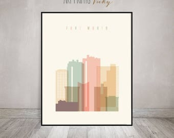Fort Worth print, Texas Poster Wall art, Fort Worth Texas skyline, City poster, Typography art, Home Decor, Gift, ArtPrintsVicky