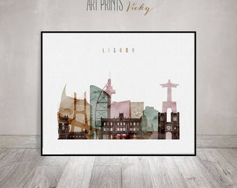 Lisbon art print, watercolor poster, Wall art, Lisbon skyline, Portugal, wall decor, travel decor, Home decor, Gift, ArtPrintsVicky