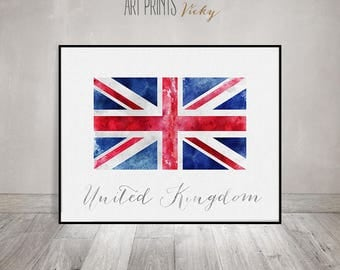 United Kingdom flag print, poster, watercolor, Wall art, England flag, Great Britain, typography, office decor, Home Decor, ArtPrintsVicky