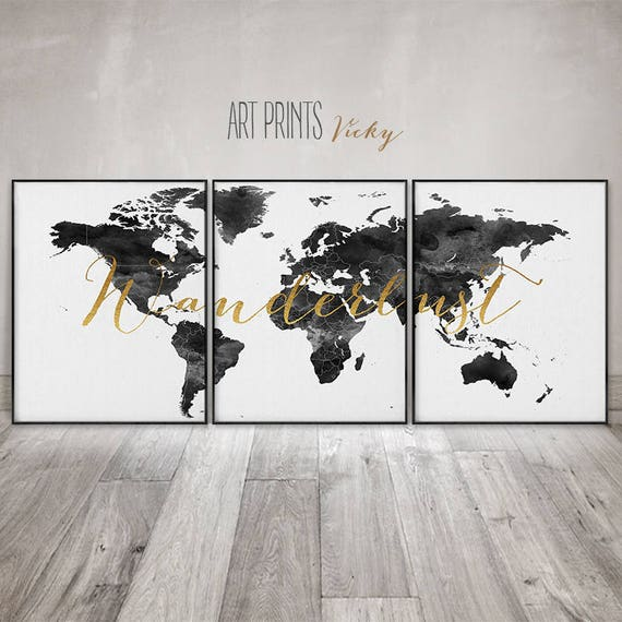 Wanderlust 3 pieces wall art posters world map set of 3 like this item gumiabroncs Images
