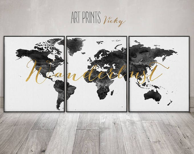 Wanderlust 3 pieces wall art, posters, World map set of 3 prints, large wall art, watercolour, faux gold, travel, home decor, ArtPrintsVicky