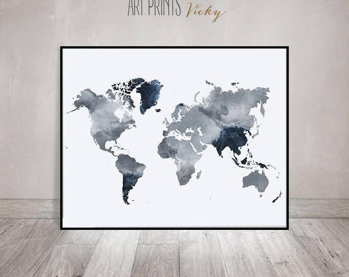 world map poster in grey -blue colours   ArtPrintsVicky.com