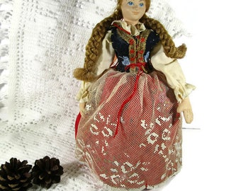 Polish Folk Costume Doll 1960s Vintage Poland Figurine in Traditional Handmade Costume Regional Ethic Dress Cultural Doll Collectible