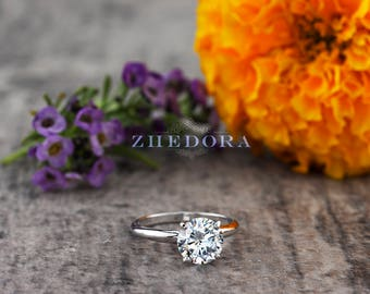 Round Solitaire Engagement Ring Solid 14k/ 18k Gold, Moissanite Wedding Ring, Platinum Moissanite Engagement Ring , Moissanite Platinum Ring