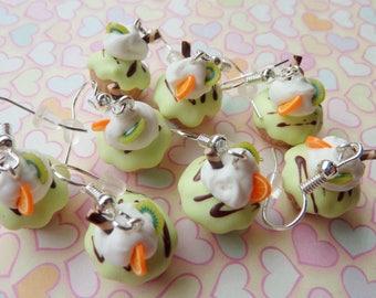 Orange Kiwi Cupcake Earrings