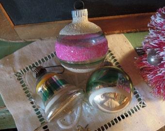 Vintage Christmas Ornaments / Shiny Brite Bell Ornament / Three Mercury Glass Ornaments