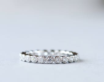 14k White Gold Eternity Band, Cubic Zirconia Stone Ring, 925 Sterling Silver Ring, Stackable ring, Wedding Band, Gift For Her