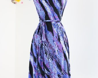 1990s Dress - Vintage Abstract Animal Print Wrap Dress - S/M - Purple Black - Sleeveless - A-line Skirt - Day Dress - Summer Spring