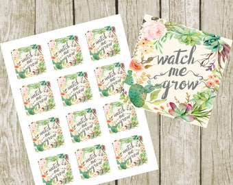 """Watch Me Grow Tags. 2"""" Square Tags, Baby Shower Succulent Favor Tags, Digital File, Succulent Favors Baby Shower Tags. Instant Download."""