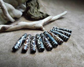 Ornated long bone beads Brown tube beads Carved bone pipe beads 10 pcs 1inch long beads