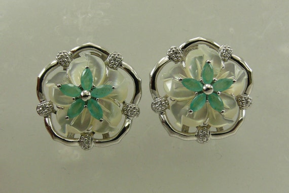 Mother of Pearl with Emerald and Diamond Earring, Sterling Silver Omega Back