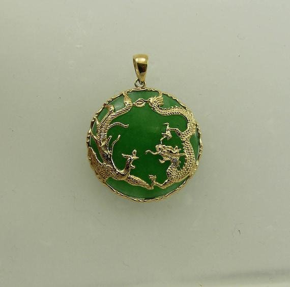 Green Jade 23.7 mm Pendant 14k Yellow Gold