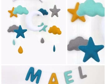 Baby mobile and name garland for nursery decor. Baby gift box name banner and crib mobile . Personalized nursery stars clouds moon letters
