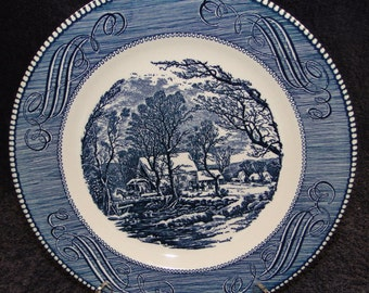 "Currier Ives Royal China Blue and White Dinner Plate Old Grist Mill 10"" EXCELLENT!"