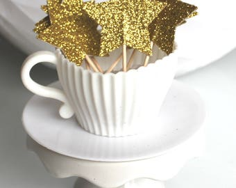10 decorations for Cupcakes (cupcake toppers) stars with glitter gold