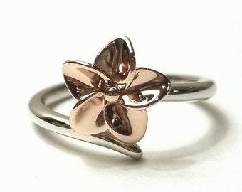 Flower Ring Silver, Sterling Silver Ring, Rose Gold Ring, Floral Ring Silver, Plumeria Ring Silver, Two Tone Ring, 925 Sterling Silver Ring