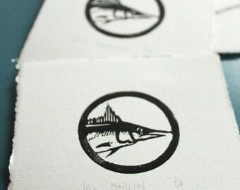 Linocut Marlin, Linoprint, Illustration, Fish, Sea, Printmaking
