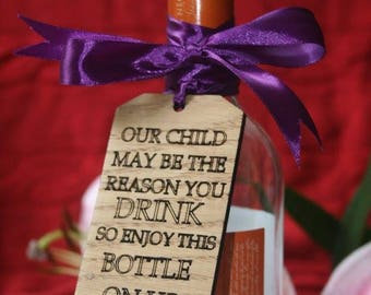 Personalised woodburnt wooden wine label for teachers.