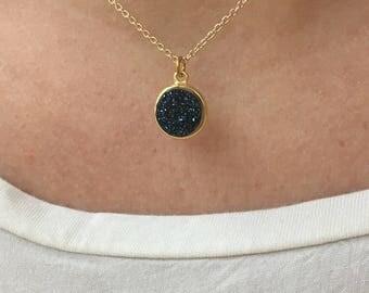 The Trinket Necklace - Navy Blue Glitter
