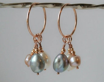 Freshwater Pearl Drop Earrings on 14K Rose Gold Filled Hoops - a Trio of Ivory White, Silver Grey, and Dusky Pink Pearl Drops
