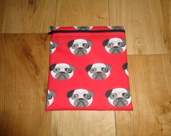 Reuseable Wrap - Bikini Bag - Lunch Bag  - Zero Waste Medium Poppins Waterproof Lined Zip Pouch - Sandwich bag - Eco - Red Pug Dogs