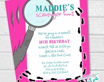 Scavenger Hunt Invitation, Scavenger Hunt Birthday Party, Clue Invitation, Escape Room Birthday, Mystery Party, Spy Party Invite | PRINTABLE
