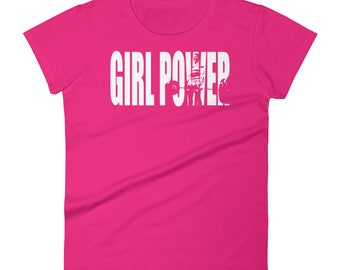 Girl Power - Motivational Gift For Bodybuilding, Weightlifting, Powerlifting, Crossfit, WOD, Fitness, Workout - Women's Gym T-Shirt