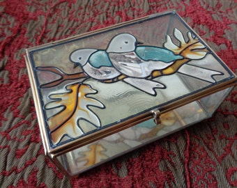 Vintage Stained Glass Jewellry Box