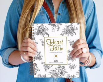 2018 Weekly Planner - Heart of the Farm + Vintage Floral  | Meal Planner | 2018 | Weekly Planner | Agenda | 2018 Planner |