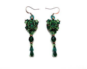 Embroidered earrings emerald green peridot Crystal copper, brass glass retro