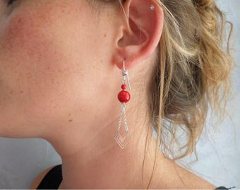 Silver earrings solid etperles red coral, ethnic chic